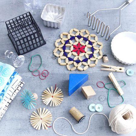 Stoff bedrucken - bunte Geschirrtücher, Taschen etc. - druckwerkzeuge