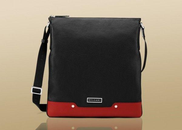 Bulgari mens messenger bag black casual grain calf leather ruby red calf leather 1