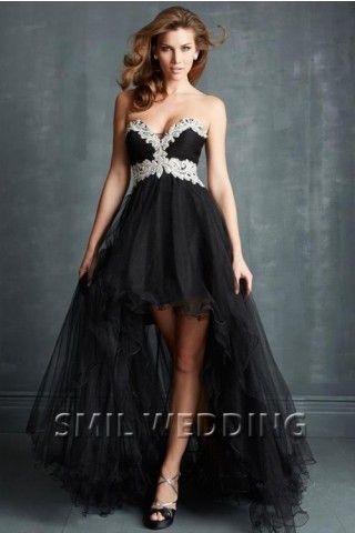 svarta cocktailklänningar paljetter chiffong asymmetrisk CJ201413
