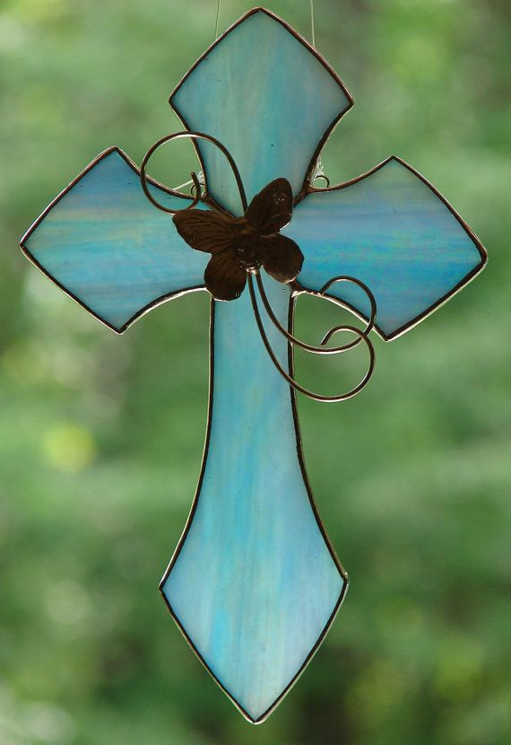Blue Butterfly Cross by theglassmenagerie on Etsy, $14.00 ...