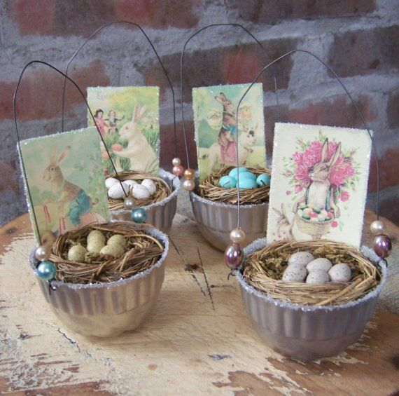 Vintage jello mold baskets for Easter. sold on etsy