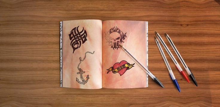 Tattoo Notebook: 100 pages of high quality, thick, matt paper. E.very page is unique: arms, hands, back, belly and more