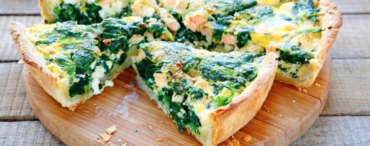 Koolhydraatarme hartige taart met spinazie en geitenkaas