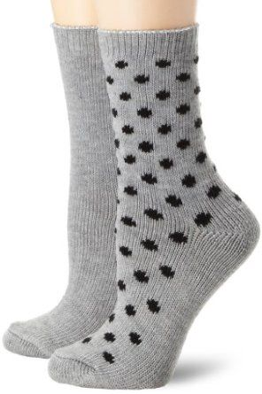 Nine West Women's Dot and Solid Flat Knit 2 Pair Boot Pack Socks, Charcoal Heather, One Size Nine West. $16.00