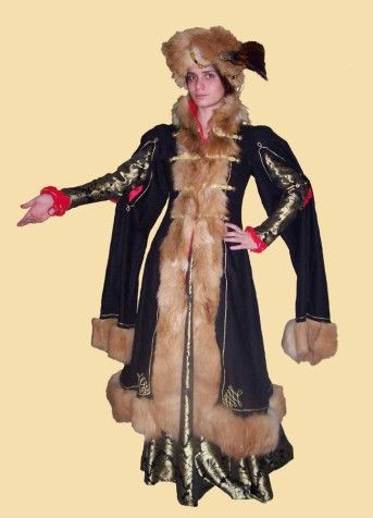 Hungarian lady's costume       From the 16th century. Petticoat and shirt are of red cloth. The gown is made of brocade and the coat of black twill, fur, golden twisted cord and red satin lining. The hat is made of fur and brocade, goose and pheasant feathers and ornamented with brooch.    Next pages show decoration at the back of the coat and the gown.