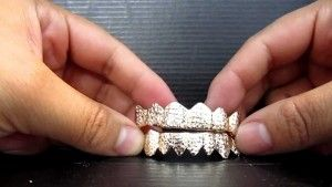 #White #Gold #Diamond Dust Open Face Grillz