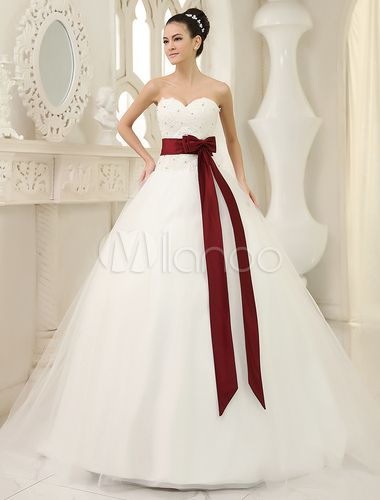 Robe de mariée en tulle ivoire avec perles à traîne chapelle - Milanoo.com