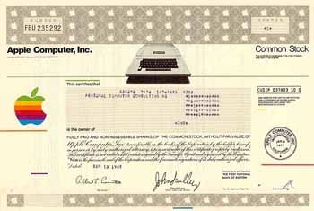 Apple Computer, Inc. 1 share o.N. 13.9.1985