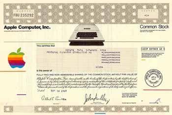 Apple Computer, Inc. 1 share o.N. 13.9.1985