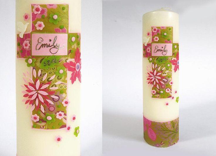 Taufkerze für Mädchen mit Blumen in grün & rosa von Taufkind auf DaWanda.com