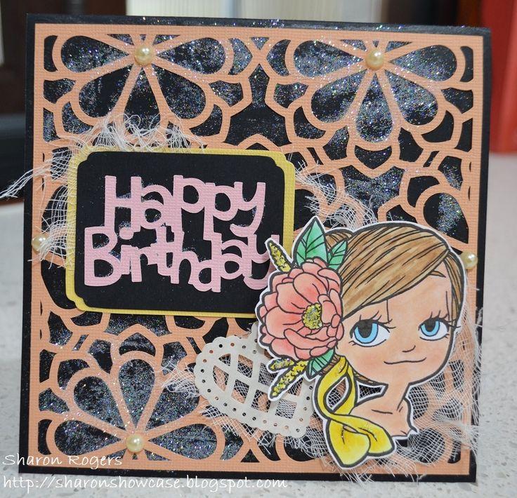 Some Odd Girl Digital Stamp, Cameo Silhouette, Die Cut, Birthday, Handmade Card, http://sharonshowcase.blogspot.com
