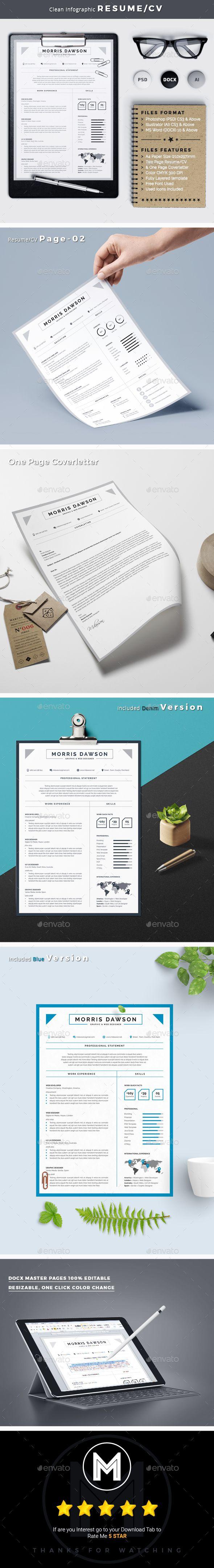 Microsoft Word Templates Cv%0A Clean Infographic Resume CV