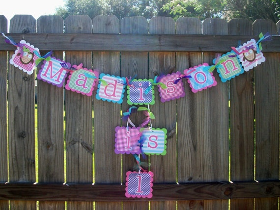 owl pink purple lime bright blue birthday name and age banner