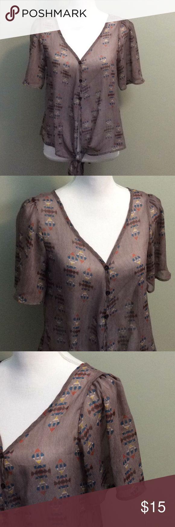 "Kirra Tie Front Aztec Print Blouse Kirra Womens Sheer Short Sleeve Tie Front Southwestern Blouse Size Small Length-22"" Sleeve-4"" Chest-14"" Kirra Tops Blouses"