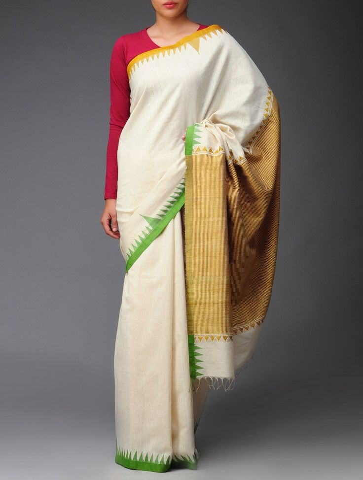 A deep red blouse looks lovely with this simple organic Khadi Cotton-Tussar Silk saree #indian #wedding #guest