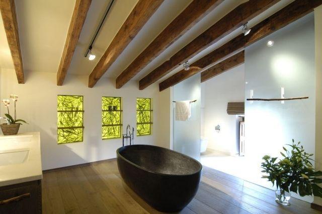 Badezimmer bilder zen ambiente holz dachbalken dachschr ge for Zen einrichtungsstil