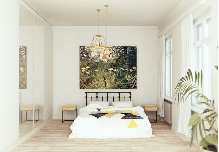 visualization of bedroom, idea for simple minimal, scandinavian place for sleep, white wall, golden, cage lamp, plants connect with henri rousseau 's amazing painting full of botanic, art & dreams are the best inspirations !