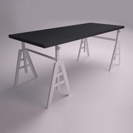 oryginal desk with regulated legs. design in black and white
