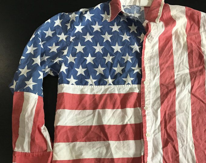 Vintage 80s American Flag Button Down Shirt L Unisex Americana Pride Red White Blue Long Sleeve Novelty Costume Party Made in USA