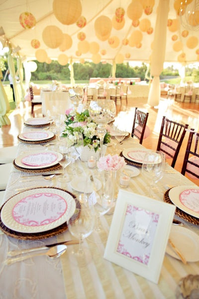 Rattan chargers. outdoor wedding in a tent. pink and ivory. Ivory China. Circle Menu cards. Tent wedding. balloons in tent. ivory, pink, white, wedding, vintage wedding, details. rattan chargers, outdoor wedding. picture frame menu cards. amazing flowers #wedding #ivory #pink #outdoorwedding #romanticwedding #flowers #tent #weddingtent