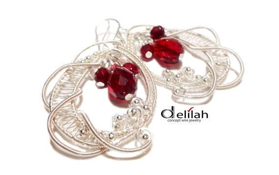 Wire Wrapped Burgundy Red Lace Earrings Wire Wrap by mssdelilah