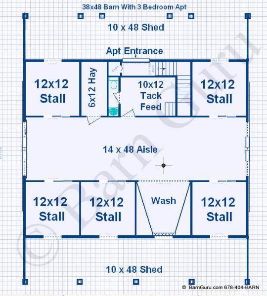 4 Stall Horse Barn Floor Plans