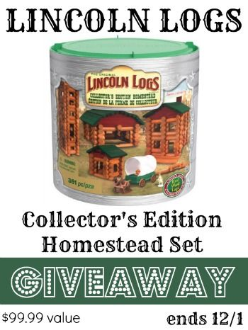 I'm so excited about this awesome giveaway! One classic toy that never goes out of style (that's why it's classic!) is Lincoln Logs. The classics make the best Christmas gifts. Wouldn't you know, just in time for Christmas – they've got the biggest set in their history….. The new K'NEX Lincoln Logs Collector's Edition Homestead …