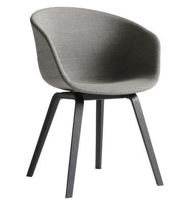 About a chair Padded armchair - 4 legs /Full fabric Light grey / Black ash feet by Hay - Design furniture and decoration with Made in Design