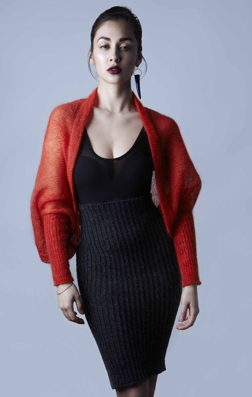 Amy Hall, Lightweight silk mohair shrug/cardigan with ribbed sleeves.