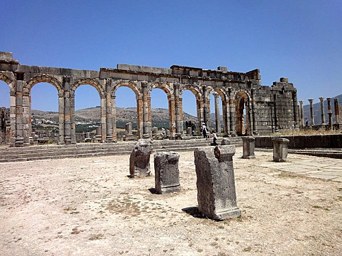 Volubilis ~ Became of importance in the Kingdom of Mauritania under the reign of Juba II (25 BC to 24 AD). Almost completely destroyed during the earthquake of Lisbon in 1755. A lot still remains to be discover.