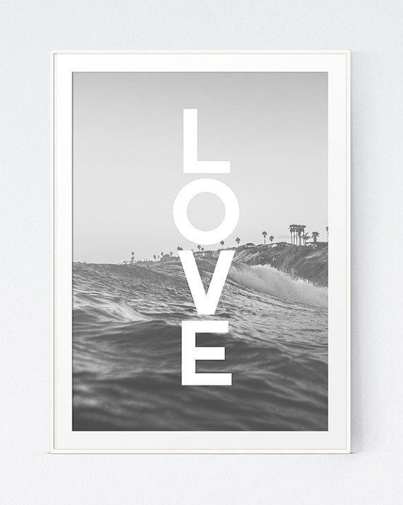 Love Black White Poster Black and White Sea Beach Wall by HDSShop