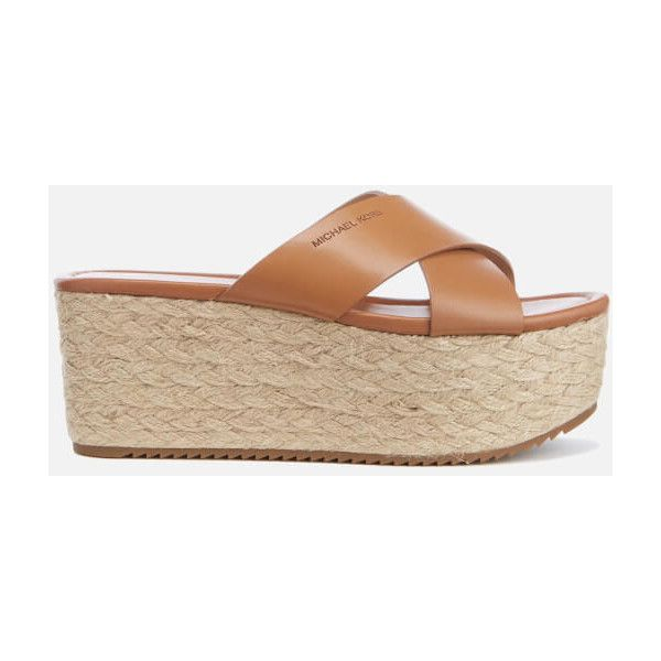 MICHAEL MICHAEL KORS Women's Vivianna Slide Wedged Sandals - Acorn ($110) ❤ liked on Polyvore featuring shoes, sandals, tan, wedges shoes, strap sandals, high heel shoes, wedge slide sandals and open toe wedge sandals