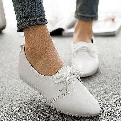 New 2016 Ladies Shoes Trendy Pointed Toe Casual Flat Shoes Women Flats Lace Up Solid Oxford Shoes For Women Sneakers