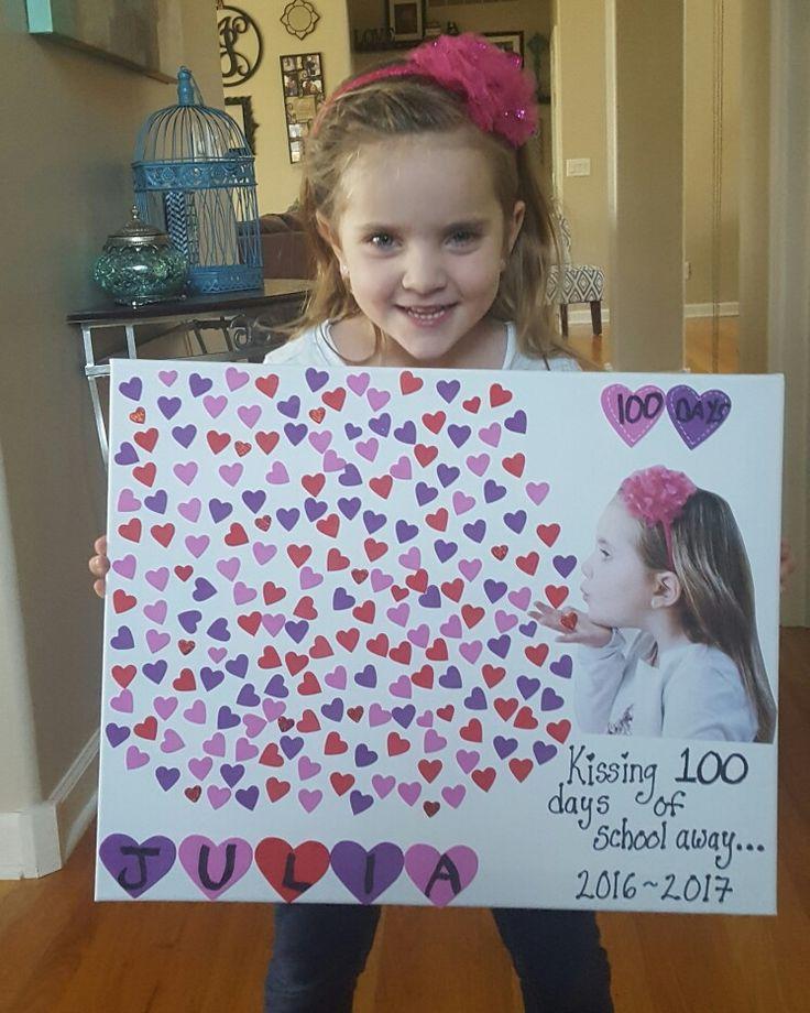 100 days of school. Kissing away. Hearts. School project.