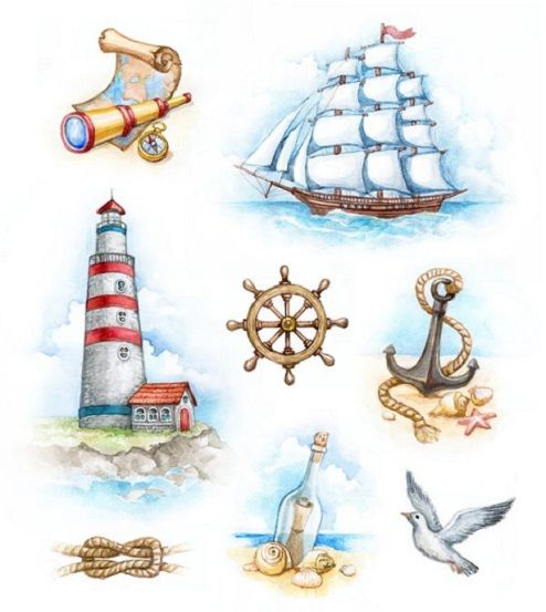 Nautical illustrations and patterns for your walls and clothing by Sundra Art.