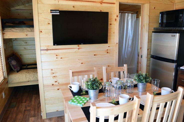 Bunk room, Columbia #Cabin kitchen with fridge & microwave and full washroom  #Glamping #Camping #CampingInCanada #KOA #TWKOA #GTA #GTAgetaway #CampbellvilleON #MiltonOn