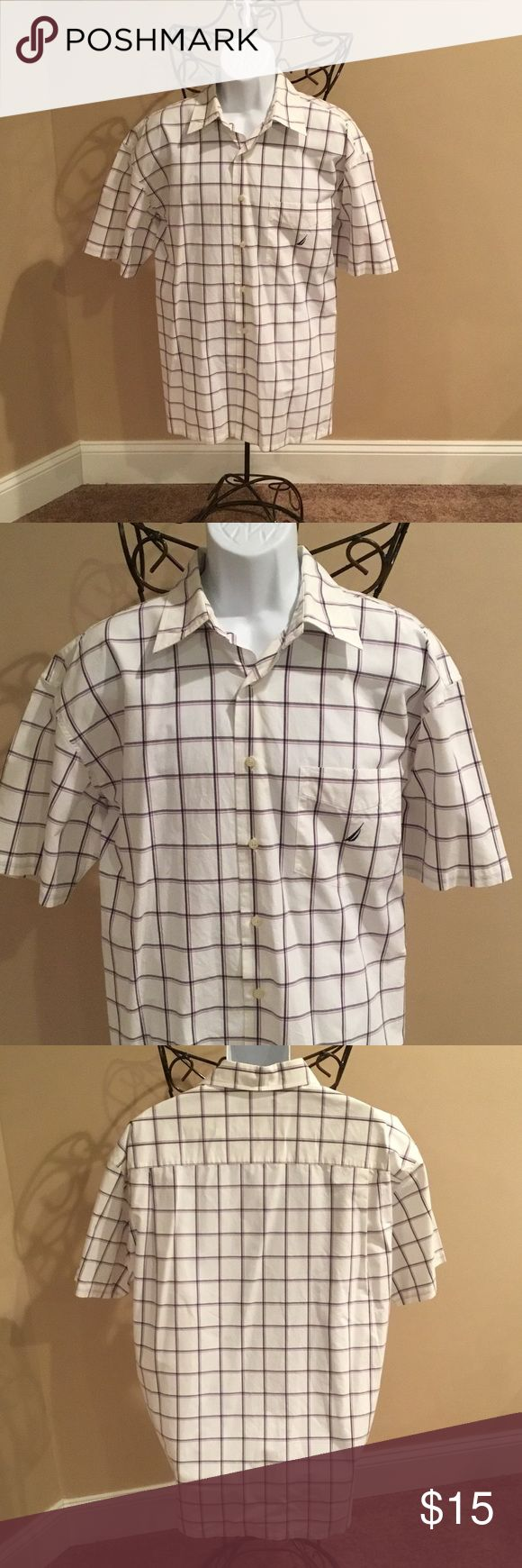 MENS SHORT-SLEEVE DRESS SHIRT WHITE WITH GREY & PINK STRIPES. 💯% COTTON.. Nautica Shirts Dress Shirts