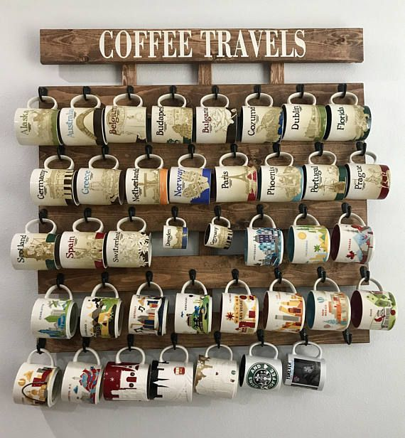 Coffee cup holder, coffee cup rack, 40 to 48 Hook coffee mug rack, coffee mug holder, Holds Starbucks You Are Here Mugs