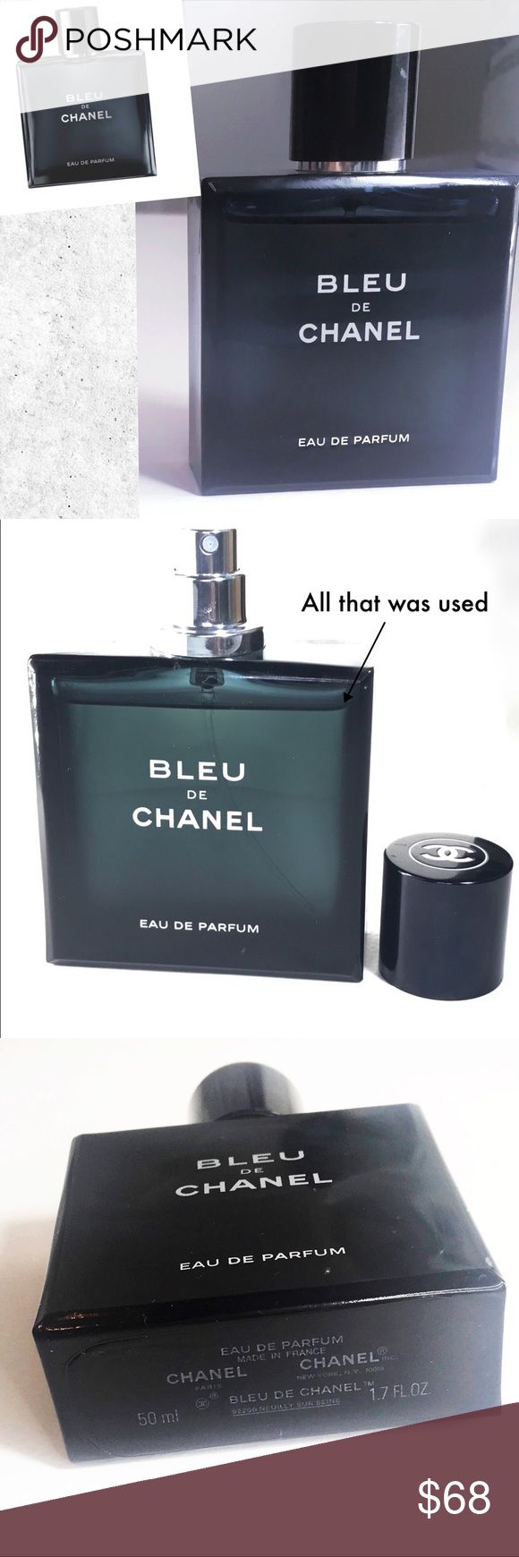 BLEU DE CHANEL EAU DE PARFUM POUR HOMME SPRAY 1.7 Bought this for my boyfriend who is obviously not using it. That's because he has too many colognes and I don't want this to a waste of money so I'm selling it. I no longer have the box and I can tell you can't tamper with this type of bottle.      COMPOSITION A fresh Citrus accord is immediately is followed by ambery Dry Cedar notes. Woods are amplified by Tonka Bean and Vanilla for heightened sensuality. New Caledonian Sandalwood unfolds…