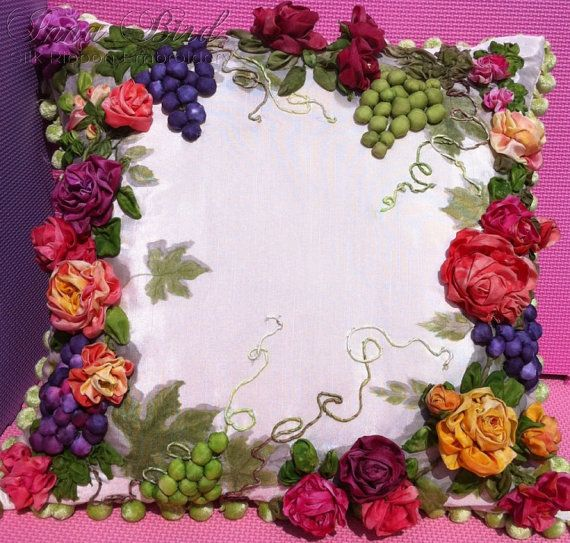 Roses and Grapes Silk Ribbon Embroidery by SilkRibbonCreative