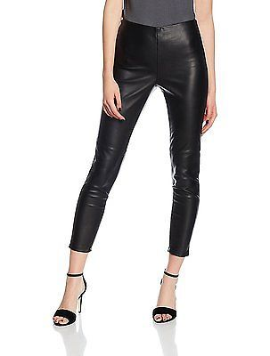 10, Black (Black), Dorothy Perkins Women's PU Skinny Trousers
