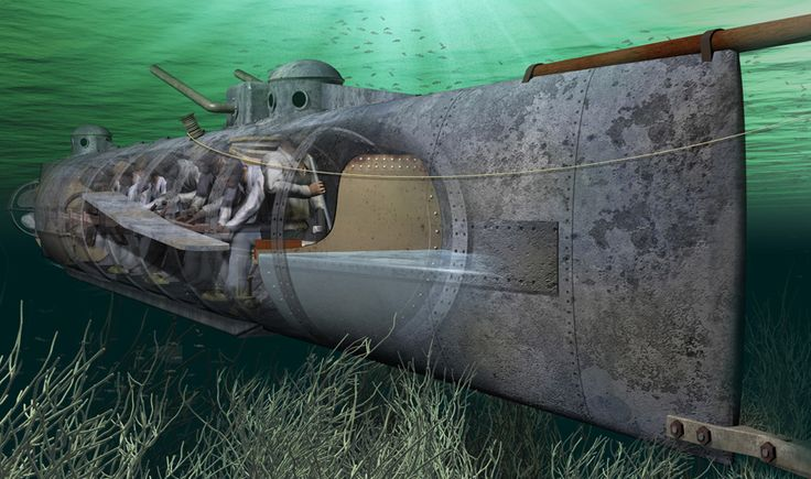 Cutaway view of the CSS Hunley submarine.