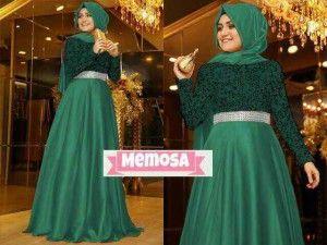 Model baju muslim pesta terbaru saten KM252