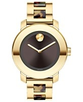 Movado Watch, Swiss Bold Medium Tortoise Acetate and Gold Ion Plated Stainless Steel Bracelet 36mm 3600111