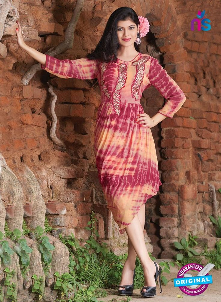 SC 12386 Pink and Orange Pure Georgette Party Wear Tunic