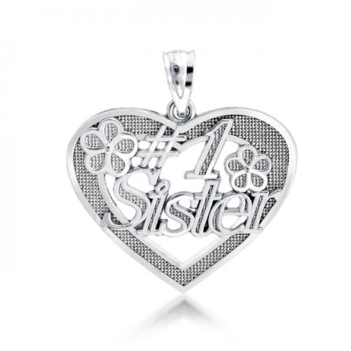 .925 Sterling Silver #1 Sister Message Pendant 18in