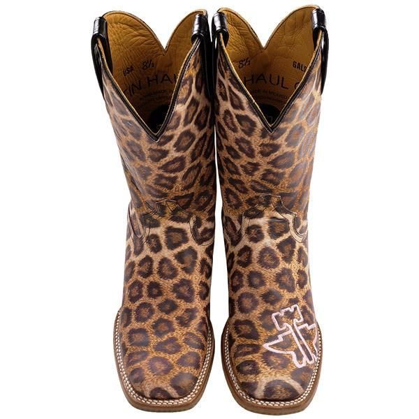 Tin Haul Big Cat, Little Kitty Cowboy Boots - Square Toe, Leather (For Women) in Leopard Print