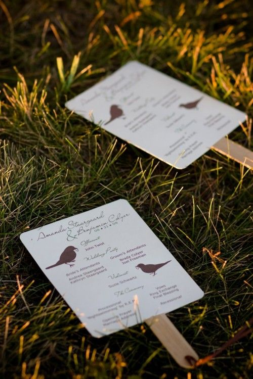 this is a MUST for an outdoor wedding; wedding program on one side, games on the other!  LOVE
