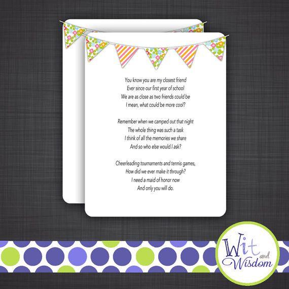 Bridesmaid Maid Of Honor Poem Wedding Poems On Etsy 3500