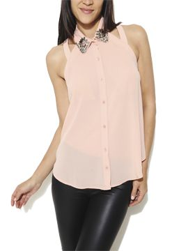 Embellished Collar Cutout Blouse from Arden B.